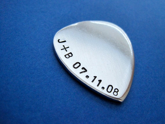 Personalized Guitar Pick - Initials - Date - Hand Stamped Accessory - Keepsake Token