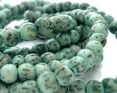 Turquoise Green Salwag Beads -  6mm Round - 16 inch strand - Natural