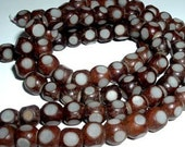 Natural Beads - 8mm Buri Seed - Brown White Cubes