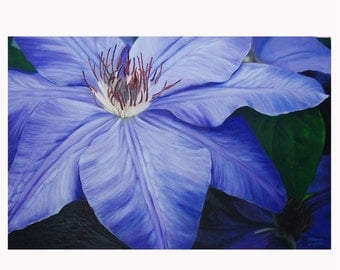 Clematis Purple - JENDRIA Original Oil Painting Art