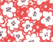 SALE Just Wing It Fabric by Momo for Moda Fabrics, Flowers in Tomato-1 Yard