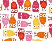 Urban Zoology Fabric by Ann Kelle for Robert Kaufman, Owls in Pink- Fat Quarter
