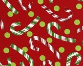 O' Tinsel Tree Fabric by Robert Kaufman, Candy Canes in Red-Fat Quarter