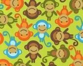 NEW Urban Zoologie and Remix Fabric by Ann Kelle for Robert Kaufman, Monkeys in Bermuda- 1 Yard