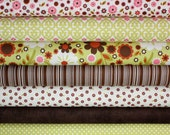 Indian Summer Fabric by Zoe Pearn for Riley Blake- Green 1/2 Yard Bundle, 7 total