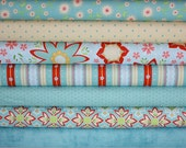 Delighted Fabric by The Quilted Fish for Riley Blake Designs- Blue Fat Quarter Bundle, 7 total