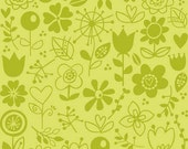 Sunny Happy Skies Fabric by Bella Blvd for Riley Blake, Sunny Happy Skies Floral in Green-Fat Quarter