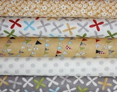 Yellow and Gray Reunion fabric bundle by Sweetwater for Moda -  Yard Bundle- 5 total