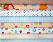 Fox Trails Fabric by Doohickey Designs for Riley Blake- Blue & Brown Fat Quarter Bundle, 8 total