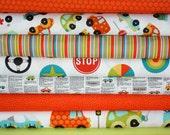 Peak Hour Fabric by Kelly Wulfsohn for Riley Blake- Red 1/2 Yard Bundle, 8 total