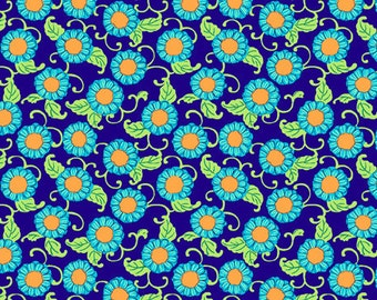 SALE fabric, 6 dollars/yard sale, Blue fabric, Lark Fabric by Amy Butler for Westminster Fabrics, Button Flower in Navy-Choose your cut