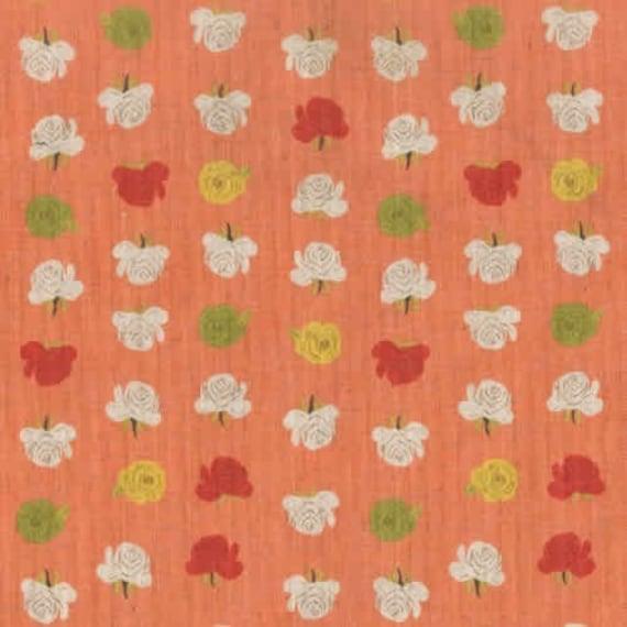 LAST ONE SALE Heather Ross Fabric by Kokka, Far Far Away 2-Rose in Light Orange- 1 Yard