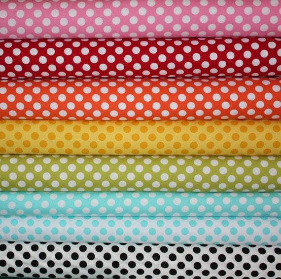 Everyone's Favorite Ta Dots Fabric by Michael Miller- Fat Quarter Bundle, 8 total