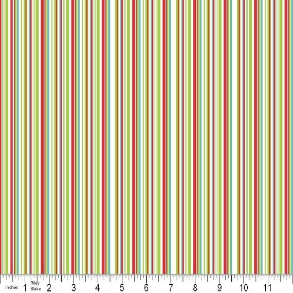 LAST ONE SALEColorful Christmas Fabric by Mind's Eye for Riley Blake, Christmas Stripe in Blue- 1 Yard
