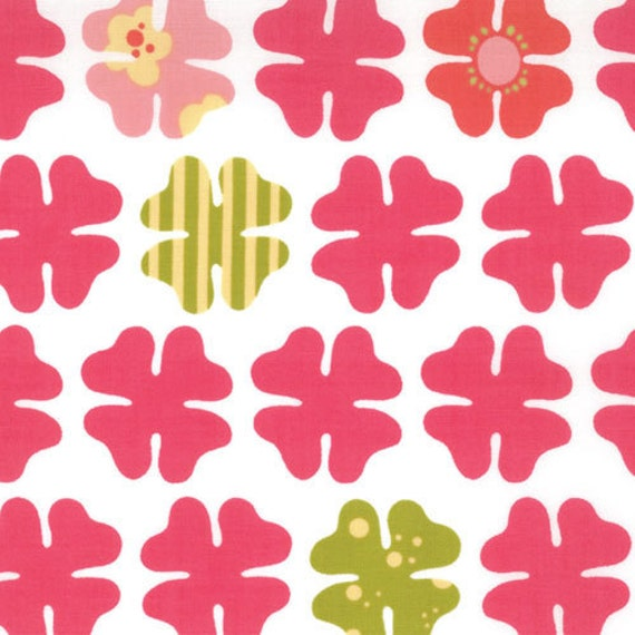 CLEARANCE SALE Just Wing It quilt or craft Fabric by Momo for Moda Fabrics, Four Petals in Pink-1 Yard or by the yard