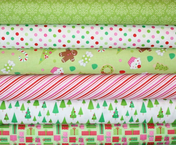 Candy Christmas Fabric by Doodlebug Designs for Riley Blake- Green Fat Quarter Bundle, 6 total