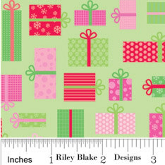 SALE LAST ONE Candy Christmas Fabric by Doodlebug Designs for Riley Blake, Candy Presents in Green-1 Yard