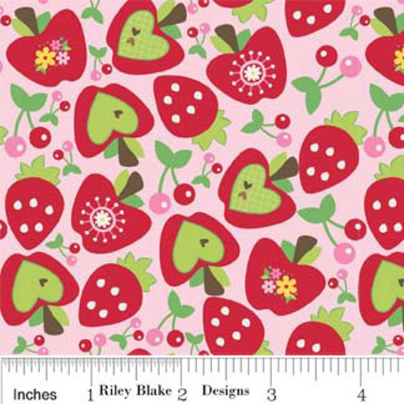 SALE Hoo's in the Forest Fabric by Doohickey Designs for Riley Blake, Hoo's Fruit in Pink-1 Yard