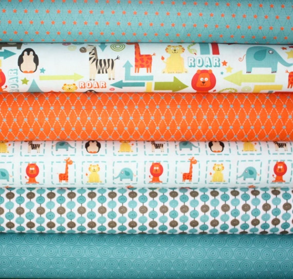 Alphabet Soup Fabric by Zoe Pearn for Riley Blake- Blue Yard Bundle, 6 total