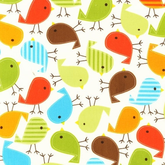 NEW Urban Zoologie and Remix Fabric by Ann Kelle for Robert Kaufman, Birds in Bermuda-Fat Quarter