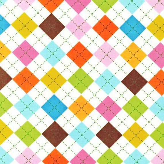 LAST ONE Remix Fabric by Ann Kelle for Robert Kaufman, Argyle in Summer- 1 Yard