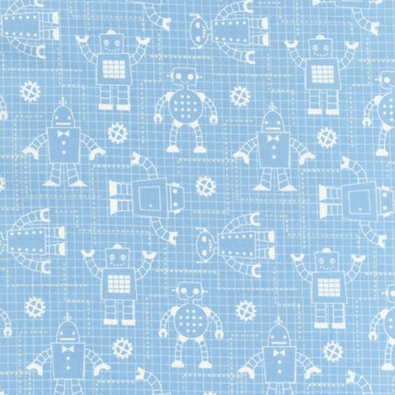 ORGANIC Robot Factory fabric by Caleb Gray for Robert Kaufman, Robot Blueprints in Aqua-Fat Quarter
