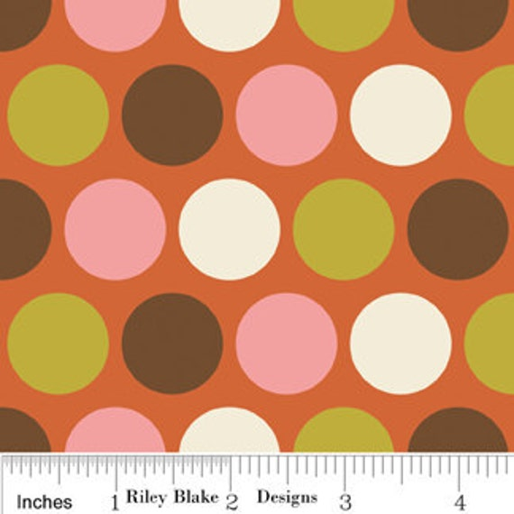SALE Indian Summer Fabric by Zoe Pearn for Riley Blake, Big Dot in Orange-1 Yard or by the  yard