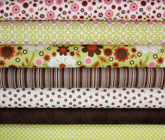 Indian Summer Fabric by Zoe Pearn for Riley Blake- Green Fat Quarter Bundle, 7 total