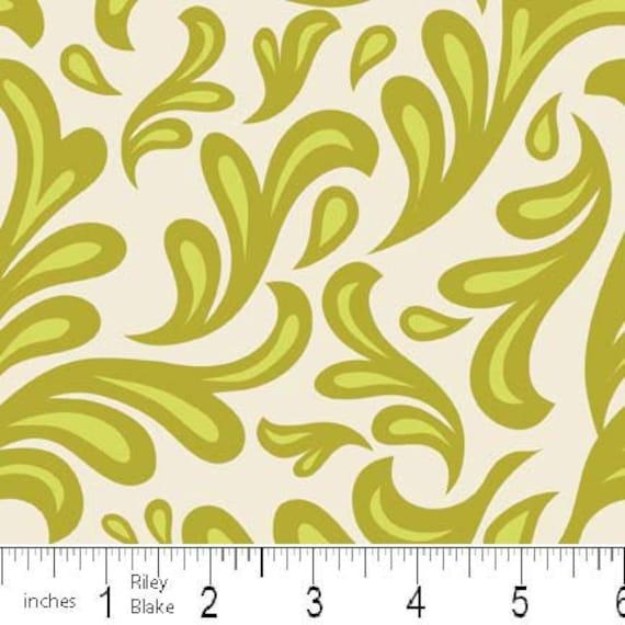 LAST ONE SALE Sweet Nothings Fabric by Zoe Pearn for Riley Blake Designs, Sweet Swirls in Green-1 Yard