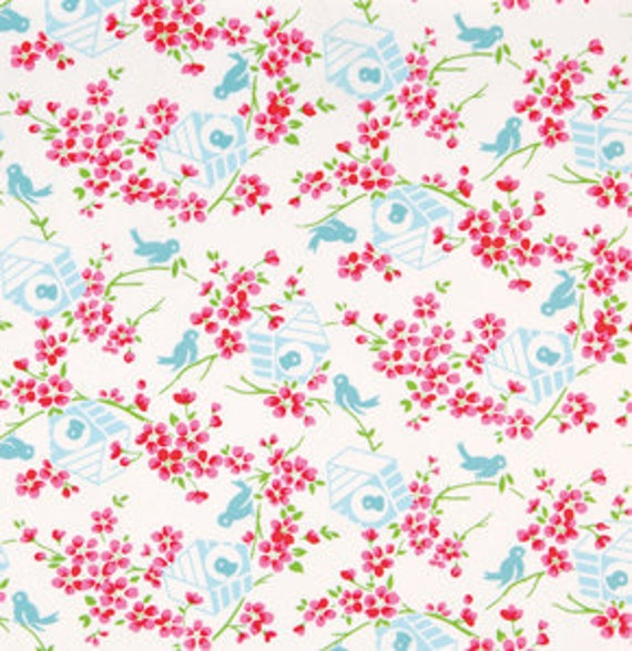 SALE Sugar Hill Fabric by Tanya Whelan for Free Spirit, Birdys in White-1 Yard
