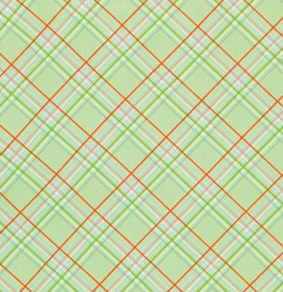 LAST ONE SALE Sugar Hill Fabric by Tanya Whelan for Free Spirit, Plaid in Green-1 Yard