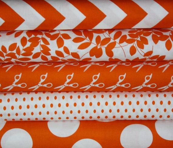 Half Moon Modern Tangerine fabric bundle by Moda -Fat Quarer Bundle- 5 total