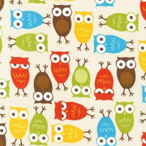 Urban Zoologie SLICKER LAMINATED Fabric by Ann Kelle for Robert Kaufman, Owls in Bermuda- 1 Yard