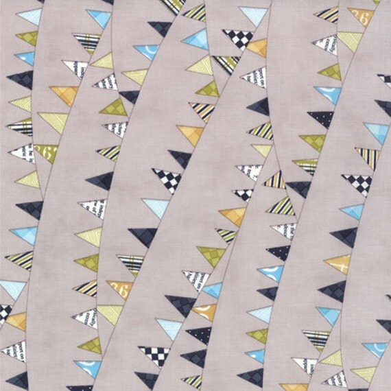 SALE Reunion quilt or craft fabric by Sweetwater for Moda, Baby's Bunting in Gray-1 Yard or by the yard