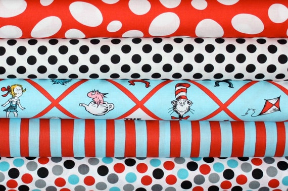 Dr Seuss  Cat in the Hat Fabric by Robert Kaufman- 1/2 Yard Bundle, 5 total