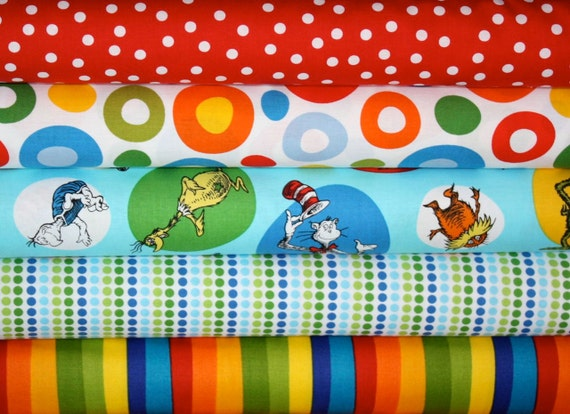 Dr Seuss Fabric by Robert Kaufman- Fat Quarter Bundle, 5 total