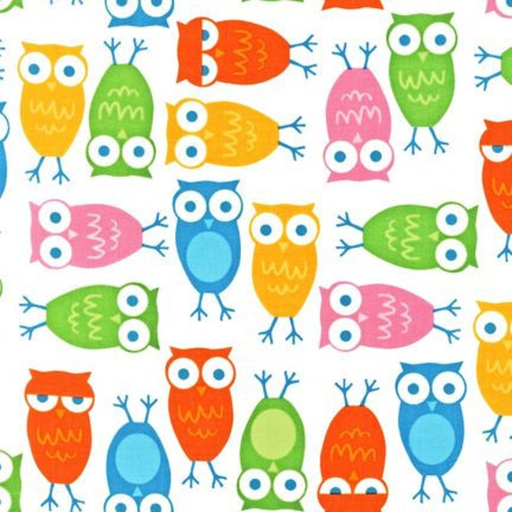 Rainbow Urban Zoologie and Remix Fabric by Ann Kelle for Robert Kaufman, Owls in Bright-1 Yard