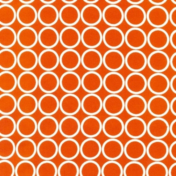 LAST ONE  Urban Zoologie and Remix Fabric by Ann Kelle for Robert Kaufman, Metro Living Circles in Orange-1 Yard