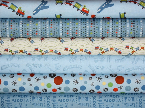 Scoot Fabric by Deena Design for Riley Blake- Blue 1/2 Yard Bundle, 6 total