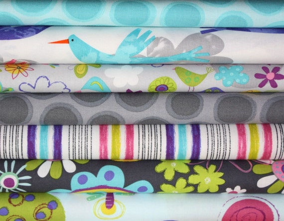 Fly Away fabric by Amy Schimler for Robert Kaufman -Fat Quarter Bundle- 7 total