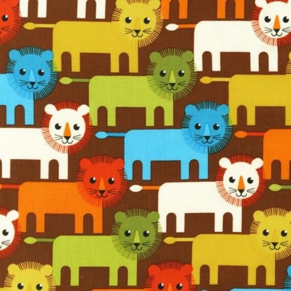 Roar fabric by Print and Pattern for Robert Kaufman, Roar Lion Family in Bermuda-Fat Quarter