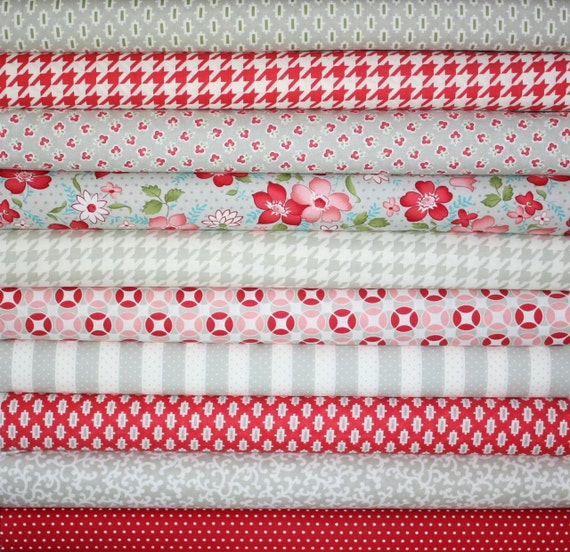 Vintage Modern by Bonnie and Camille fabric for Moda- Gray and Red Fat Quarter Bundle-10 Total