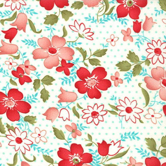 LAST ONE Vintage Modern by Bonnie and Camille fabric for Moda, Vintage Floral Main in Cream- 1/2 Yard or by the yard