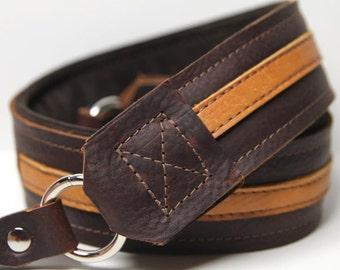 LEATHER Camera Strap - PREMIER Edition Leather - The Kodiak Stripe