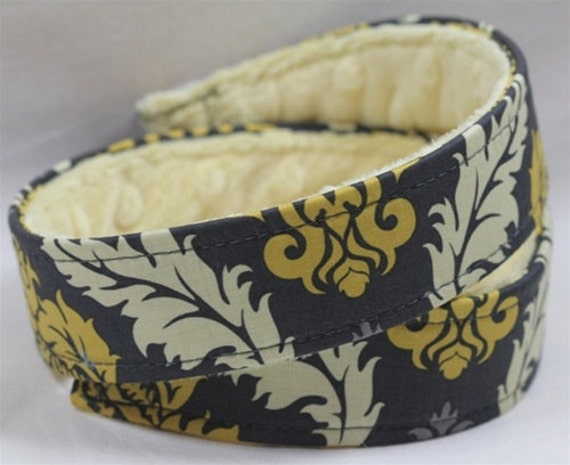 DSLR Camera straps- Damask in Granite with Pale Yellow Minky