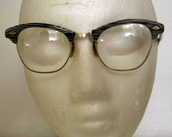 Vintage 1950s Black and White with Metal Eyeglass Frames by Artcraft