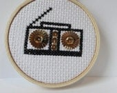 Boom Box cross stitch with sequins
