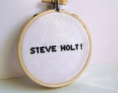 Arrested Development, Steve Holt. Embroidery Hoop Art, Cross stitch. embroidered quote, 3 inch / pop culture embroidery.