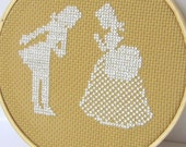 Sale- Embroidery Hoop Art.Couple silhouette cross stitch READY TO SHIP