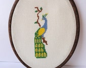 Peacock, Embroidery Hoop Art. Cross Stitch - Ready to Ship